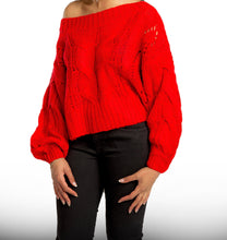 Load image into Gallery viewer, Red Knit Crop Sweater