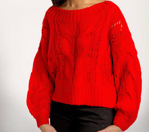 Red Knit Crop Sweater