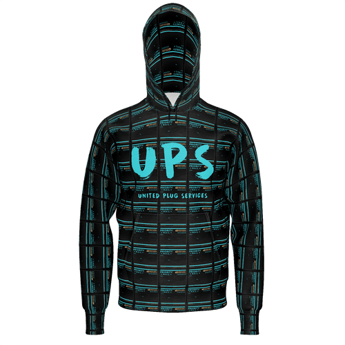 UPS 'Priority' All-Over Black Hoodie - SCARFO DA PLUG