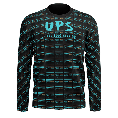 UPS 'Priority' All-Over Black Longsleeve T-Shirt - SCARFO DA PLUG