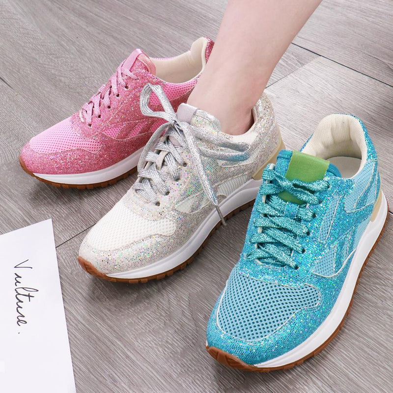 Solid Color Crystal Sparkle Sneakers