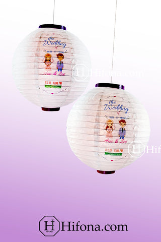 wedding two color matching with lanterns