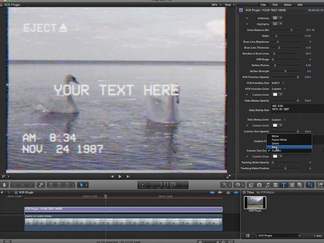 VCR Plugin is an easy to use Final Cut Pro X Plugin
