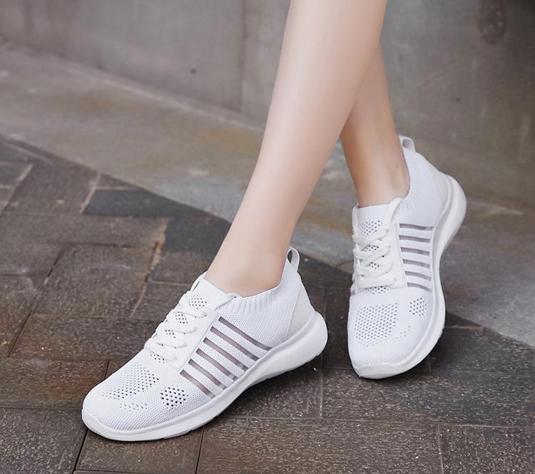 Ladies Lace-Up Knit Sneakers