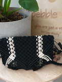 Black and cream clutch bag