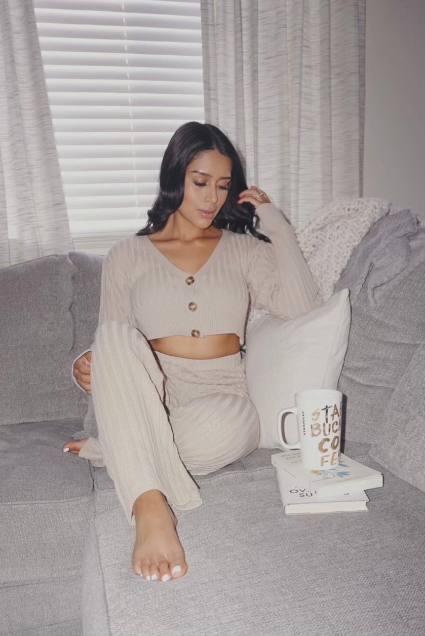 Latte Knit Lounge Set- FINAL SALE