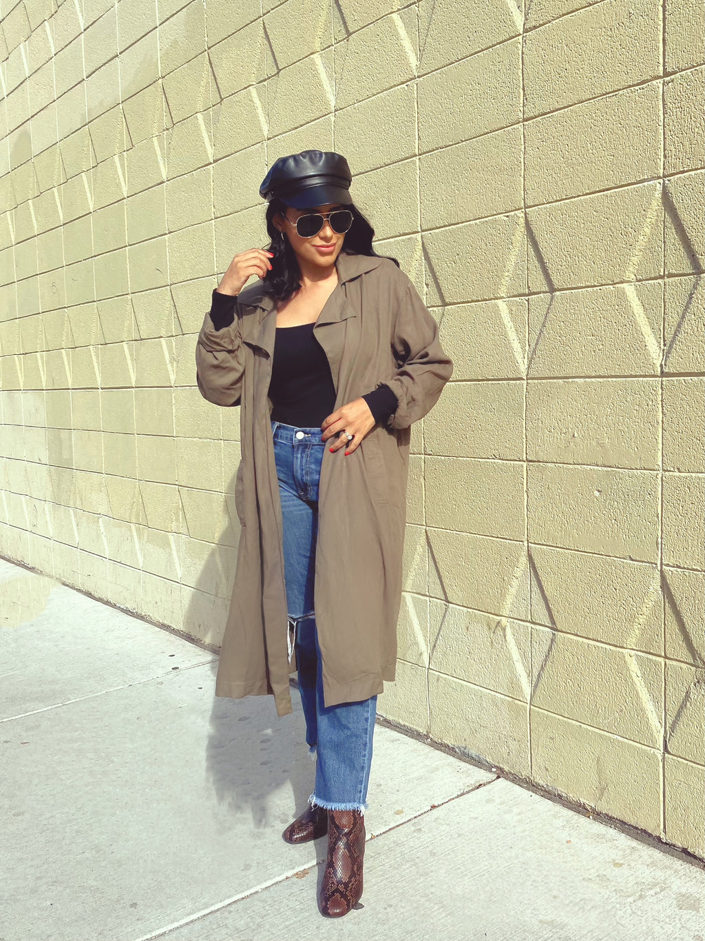 Angelina Olive Trench Duster