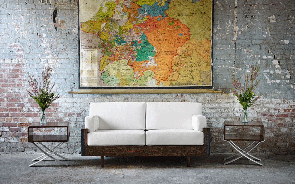 Lincoln loveseat & B-line side tables