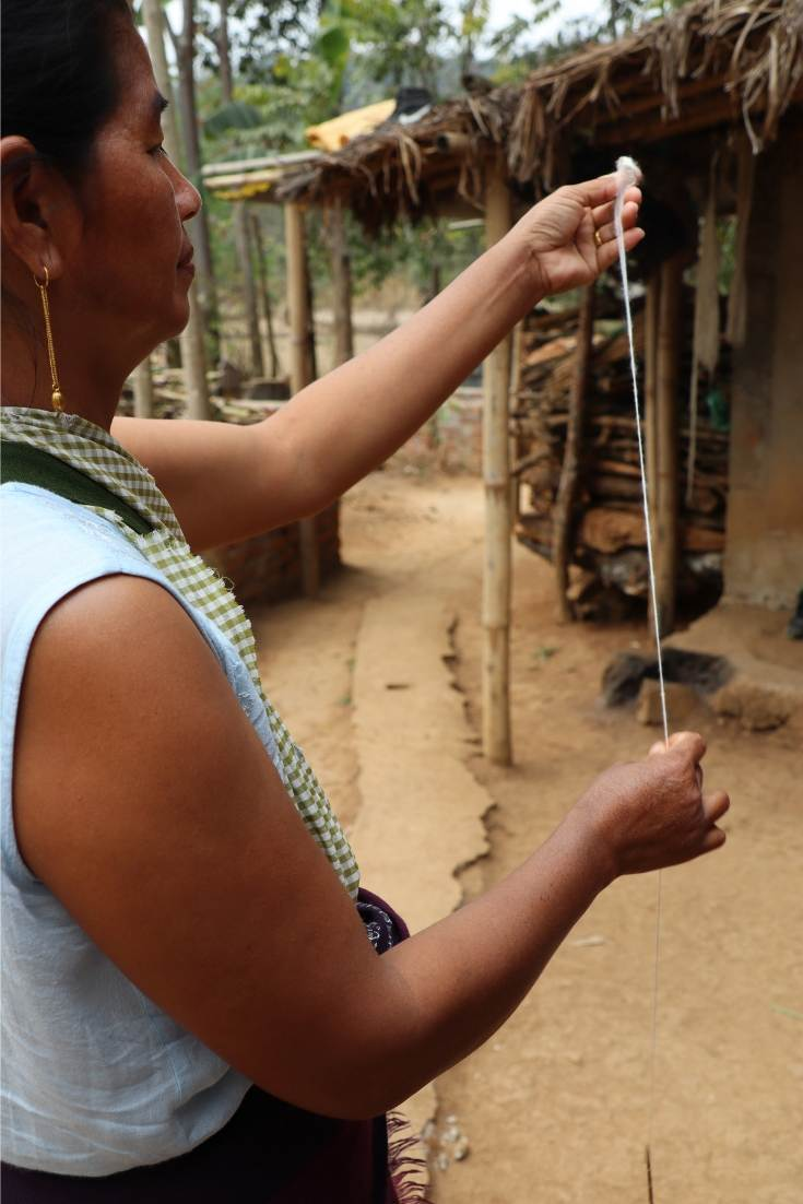 Women in villages across Meghalaya love to spin yarn
