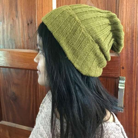 Eri silk naturally dyed and knitted into a beanie cap | Muezart
