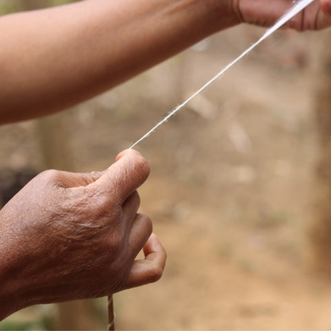 hand spinning eri silk into yarn