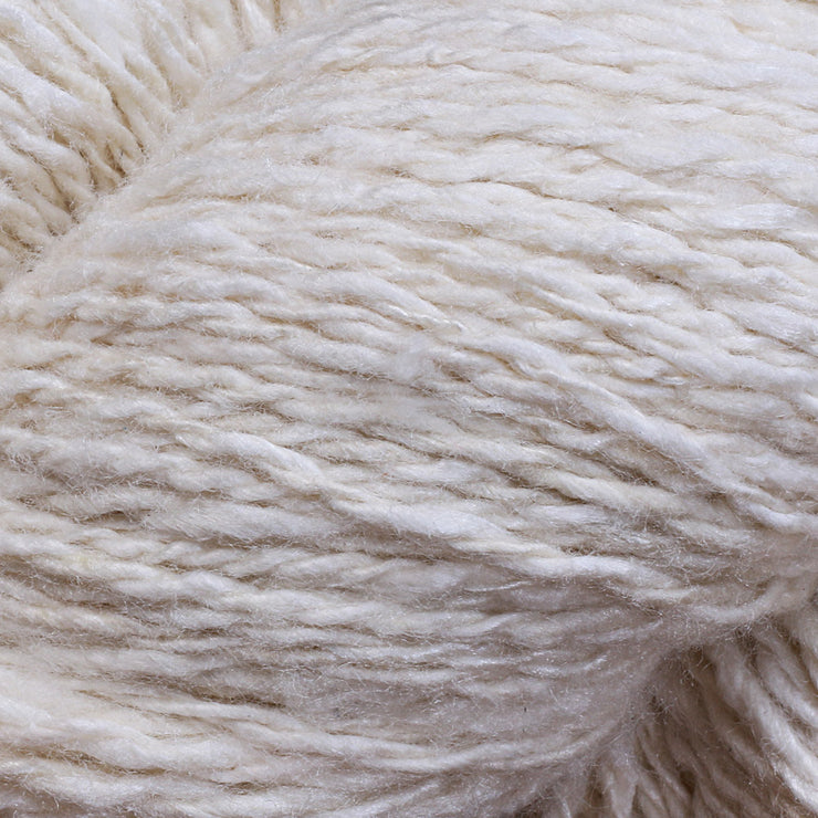 Closeup of Eri silk 2 ply fingering undyed yarn | Muezart