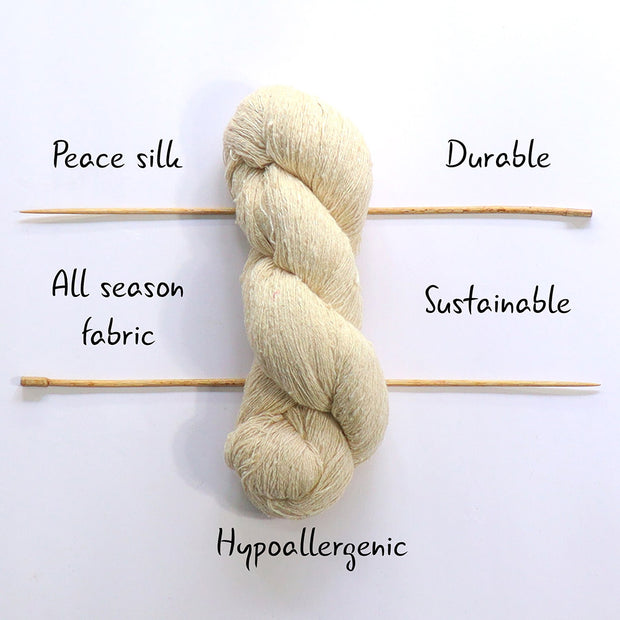 Light fingering 20/2 eri silk undyed yarn | Muezart