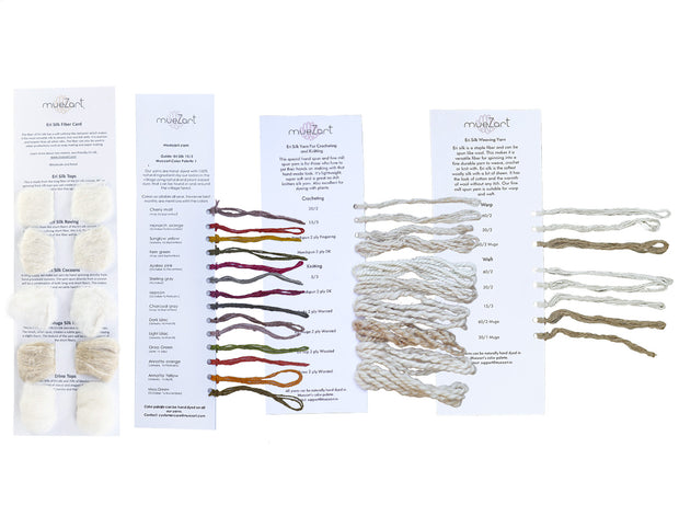Yarn | Dyed and Undyed with Fiber | Eri Silk Sample Card