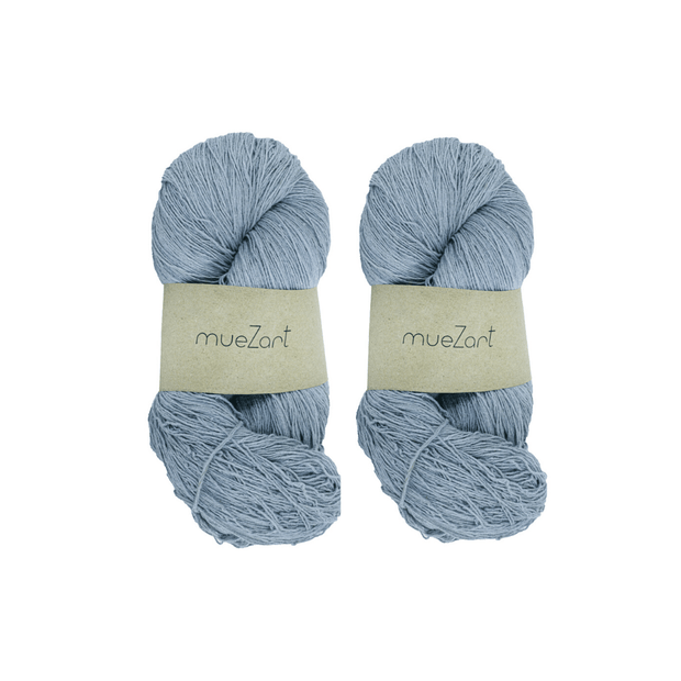 Eri silk bundle 60/6 Light Fingering Blue color yarn | Muezart