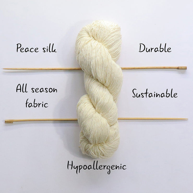 light fingering 60/6 eri silk undyed yarn | Muezart