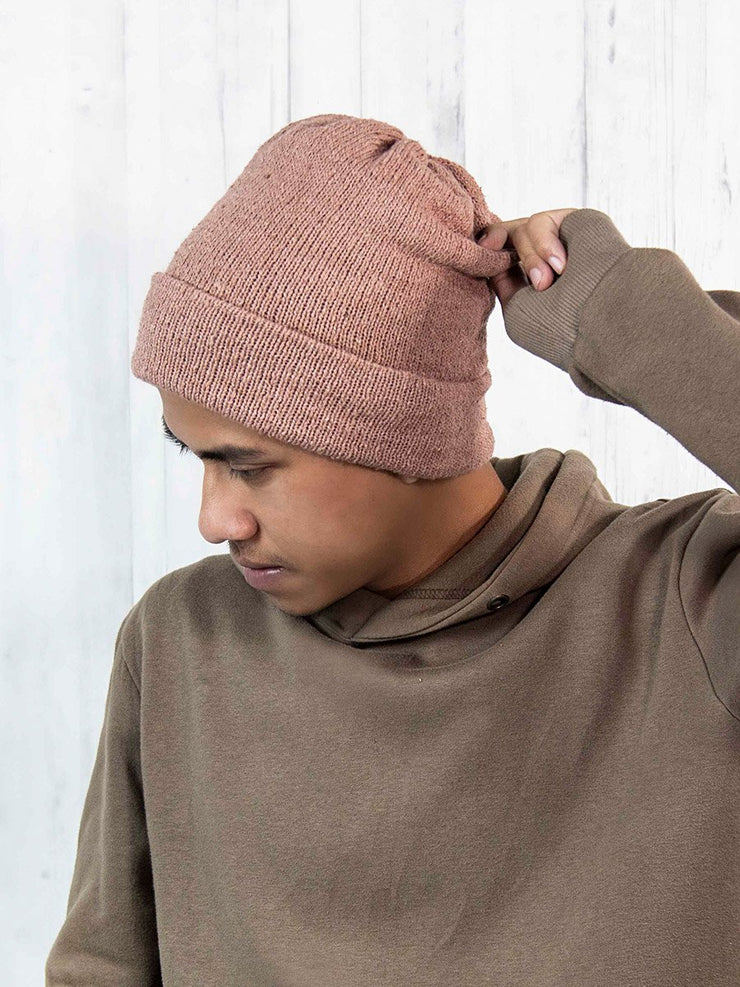 Eri Silk Cherry Malt Naturally Dyed Beanie Unisex | Muezart
