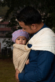 Muga and Eri Silk Blended 100% Natural Handwoven Baby Sling with Ring Natural Fiber Cocoon Color