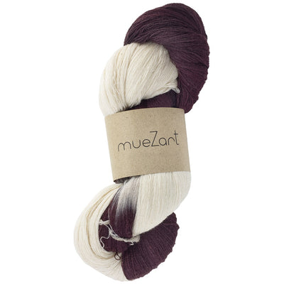 Yarn | Hand dip-dyed natural dark cherry red Eri silk 100g