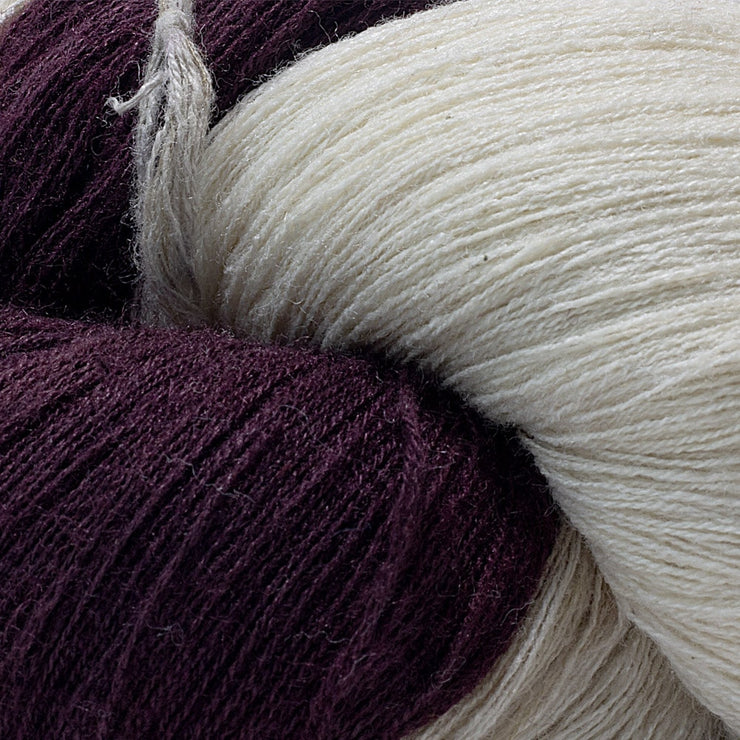 Closeup of Eri silk fine lace 60/2 naturally dyed yarn for weaving | Muezart