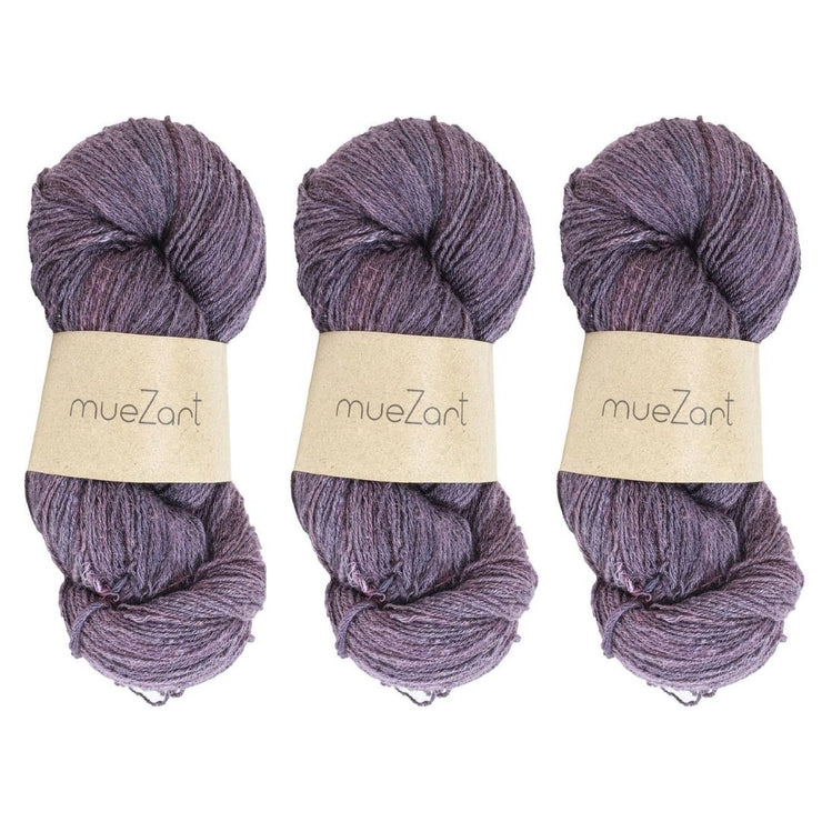 Eri silk bundle 15/3 Fingering Erino naturally dyed mulberry purple color yarn | Muezart