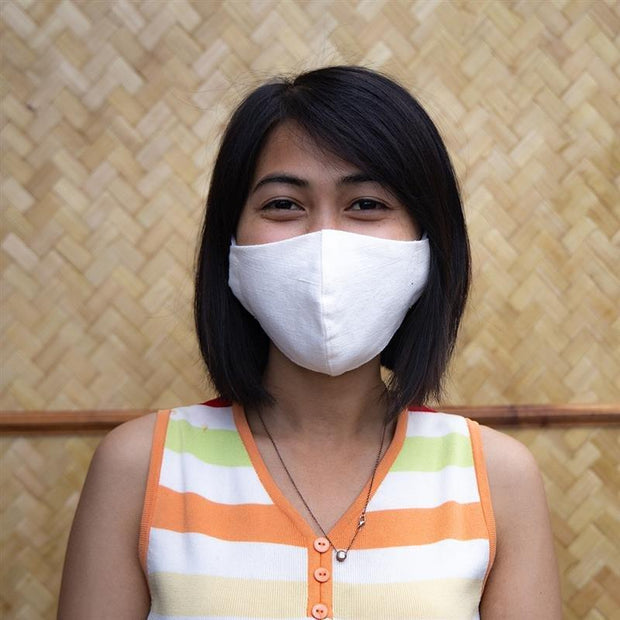 Eri silk with cotton blend face mask front look | Muezart