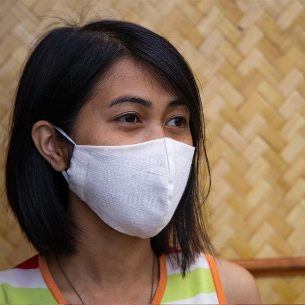 Eri silk with cotton blend face mask side view | Muezart
