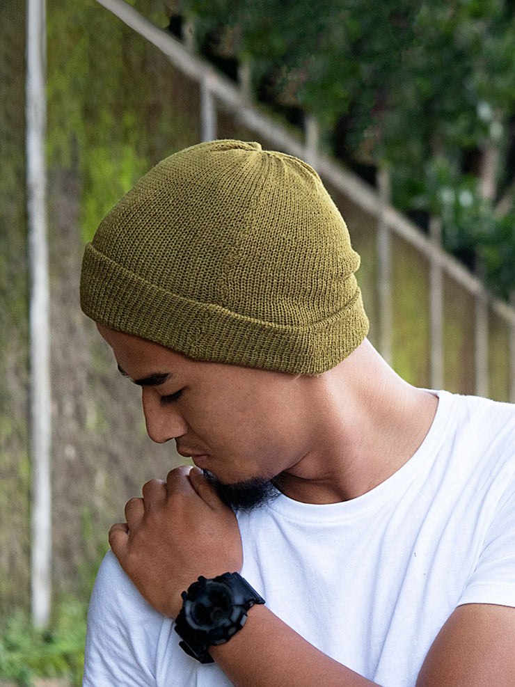 Eri Silk Fern Green Naturally Dyed Beanie Unisex | Muezart
