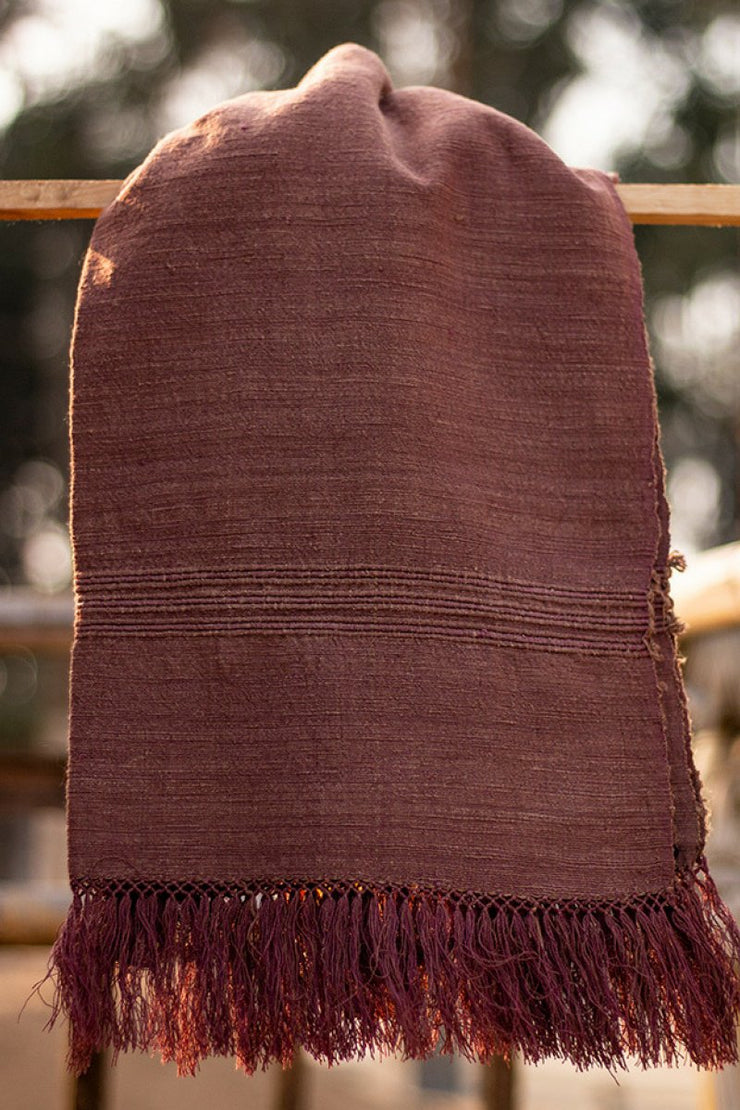 100% Eri Silk - Handwoven Hand Spun Natural Dyed - Burgandy Shawl