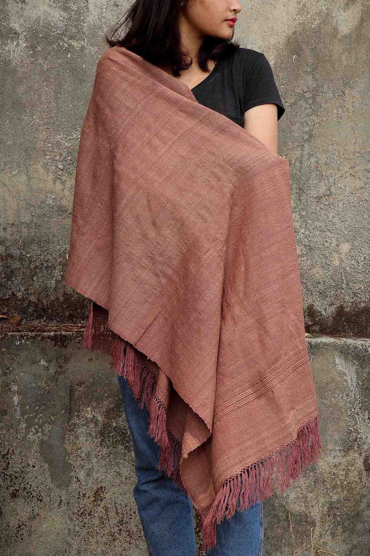 Burgandy Lada Eri silk Shawl - Handwoven Hand Spun Natural Dyed