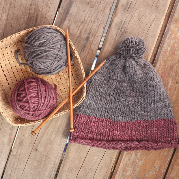 Knitting Kit, Beanie Knitting Kit, Knitting a beanie,