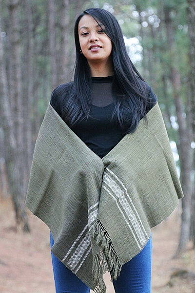 Eri Silk Shawl Hand Woven Natural Plant-based Color Hand Spun