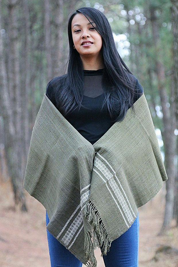 Eri Silk Shawl Hand Woven Natural Plant-based Color Hand Spun Peace Silk Yarn