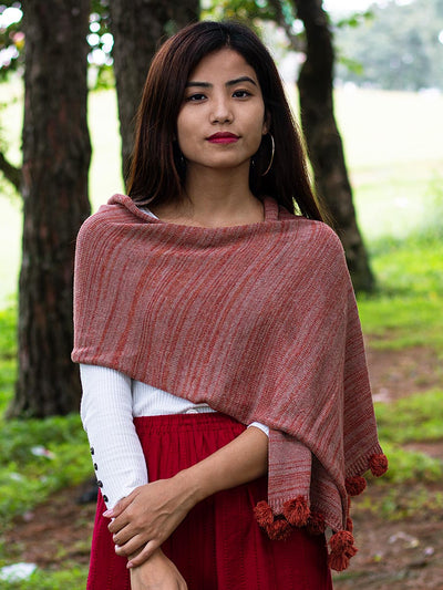 eri silk knitted scarf | natural dyed monarch orange & cherry malt | Muezart