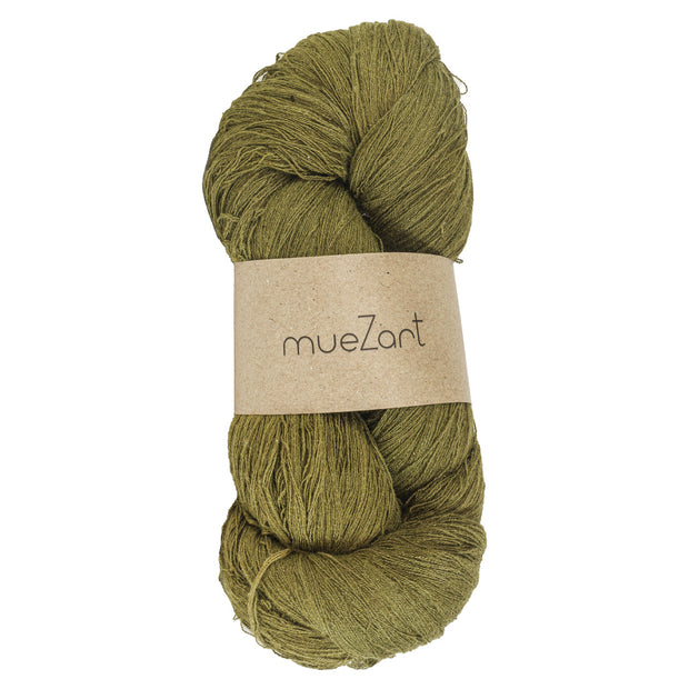 Eri silk naturally dyed Moss Green fine lace weight yarn | Muezart