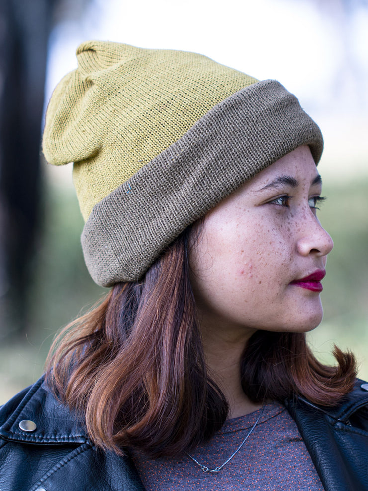 Turtle and Olive Green Multi-functional Reversible Beanie | Muezart