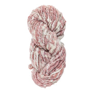 Upcycle handspun Eri silk worsted, DK yarn for knitting | Pink and white | Muezart