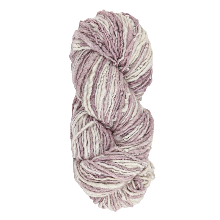 Upcycle handspun Eri silk worsted, DK yarn for knitting | Purple and white | Muezart