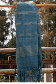 Handwoven Banana Fiber and Cotton Scarf - 100% plant based indigo dye color.