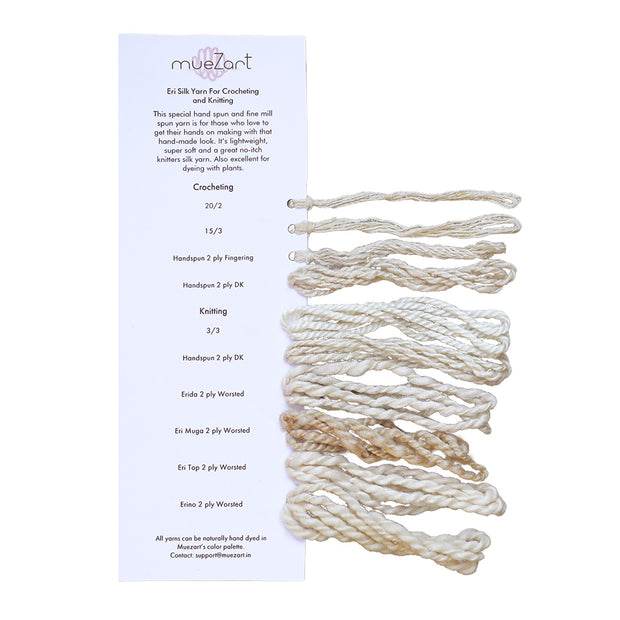 Yarn | Dyed and Undyed with Fiber | Eri Silk Sample Card - Muezart