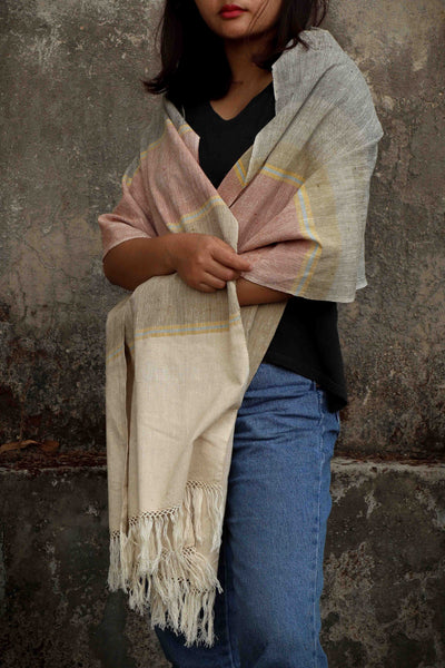 Eri Silk Shawl Organic Hand Woven Natural Color Hand Spun - Sustainable Eri Silk
