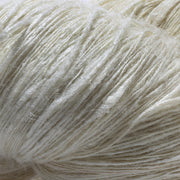 Closeup of our Eri silk undyed handspun lace weight yarn | Muezart