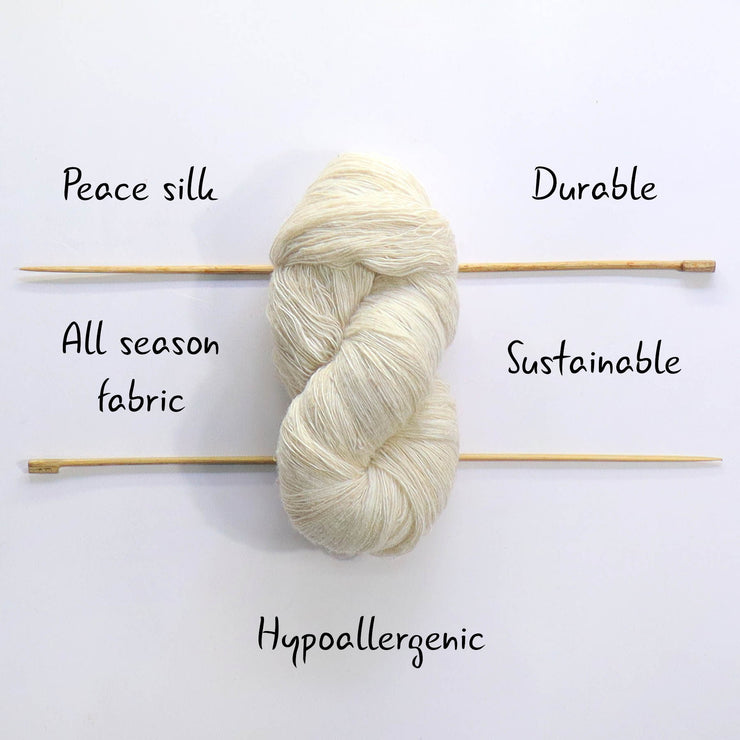 Eri silk undyed handspun lace weight yarn | Muezart