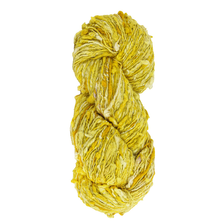 Upcycle handspun Eri silk worsted, DK yarn for knitting | Yellow | Muezart