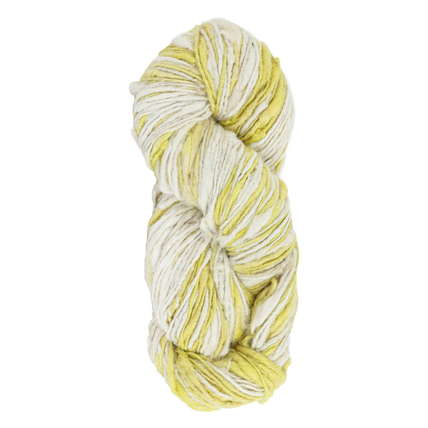 Upcycle handspun Eri silk worsted, DK yarn for knitting | Yellow and white | Muezart