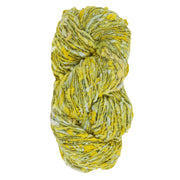Upcycle handspun Eri silk worsted, DK yarn for knitting | Yellow and green | Muezart