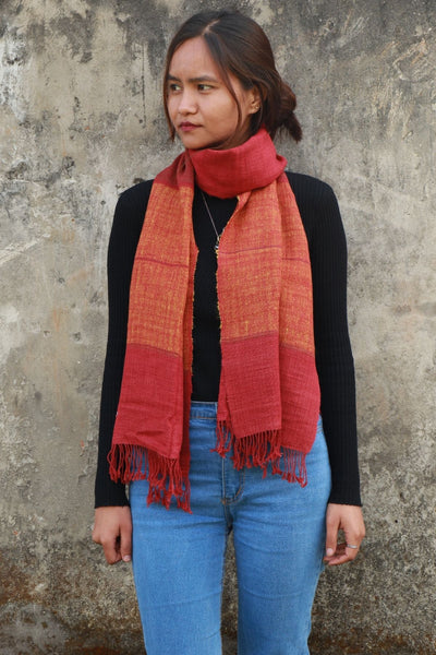 Eri Silk Scarf Organic Hand Woven Natural Color Hand Spun - Sustainable Eri Silk