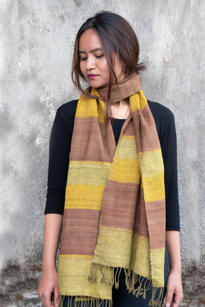 Eri Silk Scarf Hand Woven Natural Dyed Color - Block Color Hand Spun Eri Silk