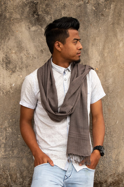 Eri Silk Scarf Hand Woven Natural Plant-based Grey Color - Eri Silk for Men or Women