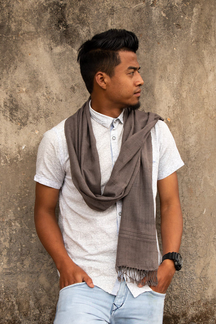 Eri Silk Scarf Hand Woven Natural Plant-based Grey Color - Peace Silk for Men or Women